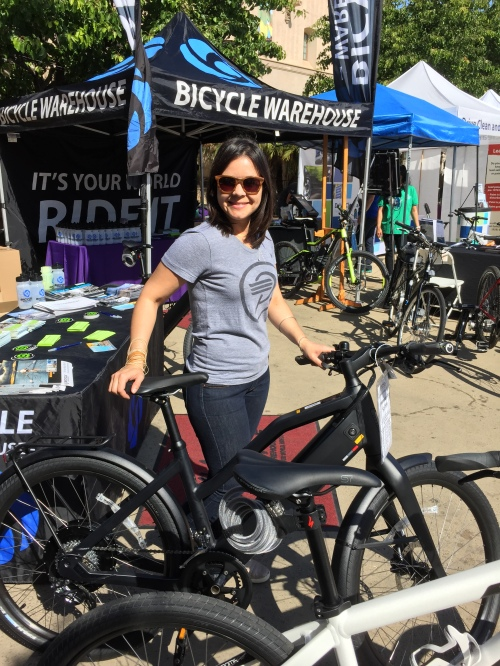 Rosie showing off one of the Stromer eBicycles